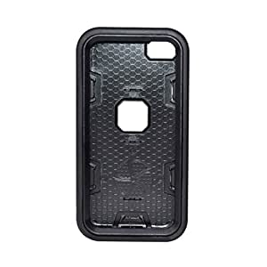 For iPod Touch 6 - Super Defender Hybrid Rugged Rubber Hard Case Cover - Full Black