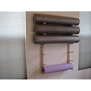 Foam Roller and Yoga Mat Storage Rack Wall Mount in Sustainable Hardwood (36″ 6-Space) (1 Set)