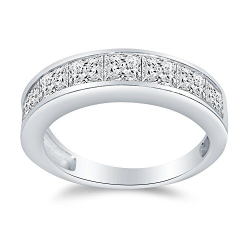 Size - 5 - Solid 14k White Gold 4mm Princess Cut Invisible Anniversary Ring Wedding Band Highest Quality CZ Cubic Zirconia 1.50cttw. by Sonia Jewels