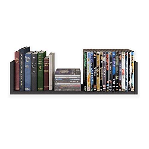 Fasthomegoods Contemporary Design U Shape Floating Wood Wall Rack , Black