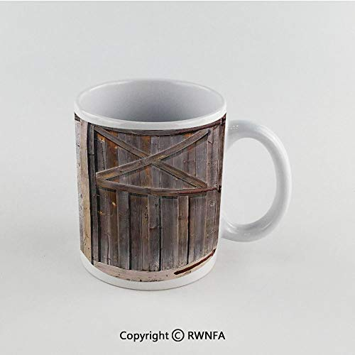 11oz Unique Present Mother Day Personalized Gifts Coffee Mug Tea Cup White Rustic,Old Wooden Barn Door of Farmhouse Oak Countryside Village Board Rural Life Photo Print,Brown Funny Ceramic Coffee Tea
