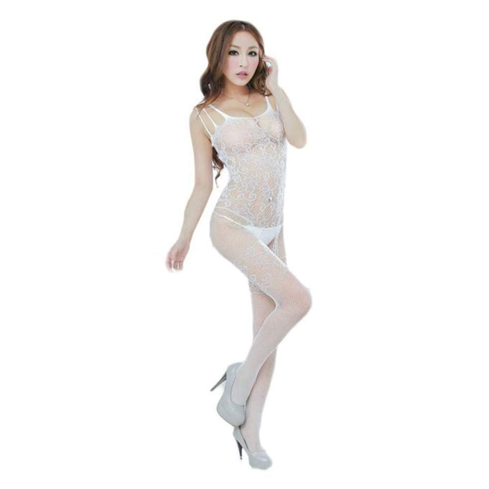 Womens Sexy Lingerie Floral Open Crotch Mesh Body-Stockings Perspective Temptation Bodysuits Underwear (Free Size, White)