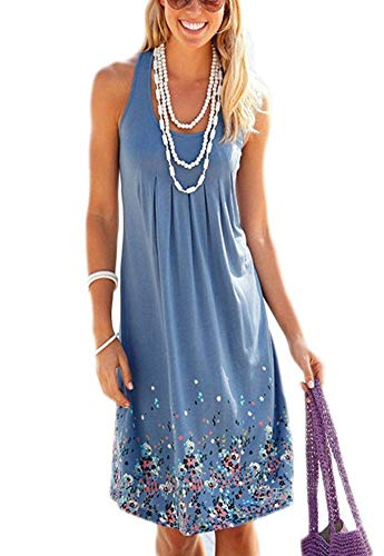 - MIDOSOO Womens Casual Round Neck Sleeveless Solid Summer Tank Dress F-Blue S