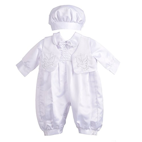 Dressy Daisy Baby Boys Christening Baptism Outfit Romper Formal Wear 3 pcs Set Embroidery Cross Vest Size 3-6 Months White