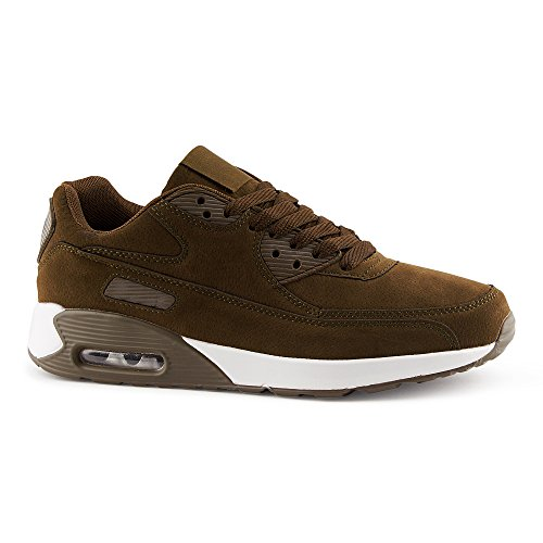 FiveSix Herren Damen Sneaker Sportschuhe Laufschuhe Freizeitschuhe Dämpfung Velours-Optik Schnürschuhe Low-Top Unisex Schuhe Oliv-M