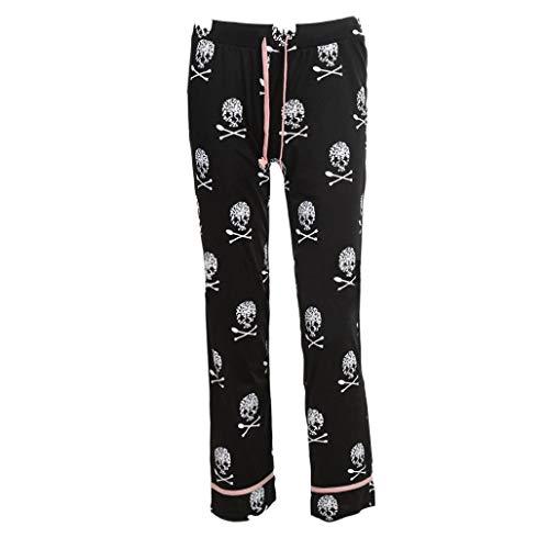 Lady Causal Daily High Waist Skull Print Wide Calf Length Long Leg Pants ()
