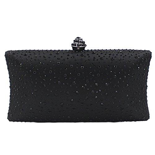 Onfashion Bolsos Mujeres de Diamantes de Imitación Diseño Rhinestone Completo Bolsas de Mano por Noche Embrague del Bolso y Bolsos Monedero de Fiesta Bolso de Cosméticos negro