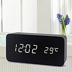 [Newest 2017 Model] Wooden Digital Alarm Clock, Warmhoming Acoustic Control Clock with Time Temperature and Voice Control, Perfect for Home & Travel