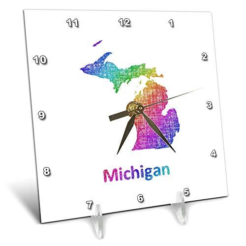 State Desk Clock Michigan - 3dRose David Zydd - Map Designs - Michigan State Map - rainbow sketch design - 6x6 Desk Clock (dc_287264_1)
