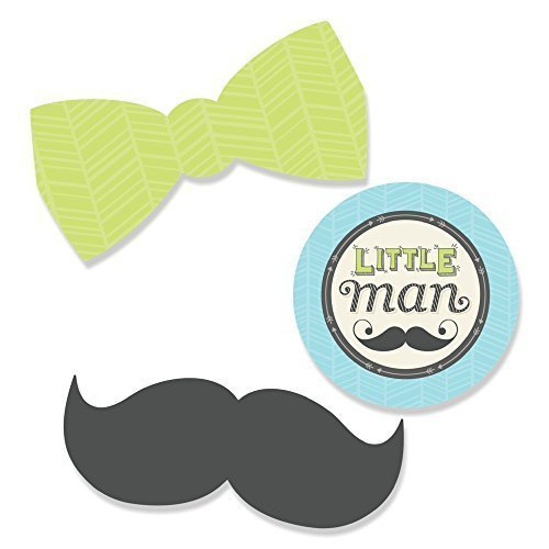 Big Dot of Happiness Dashing Little Man Mustache Party - DIY Shaped Baby Shower or Birthday Party Cut-Outs - 24 Count -