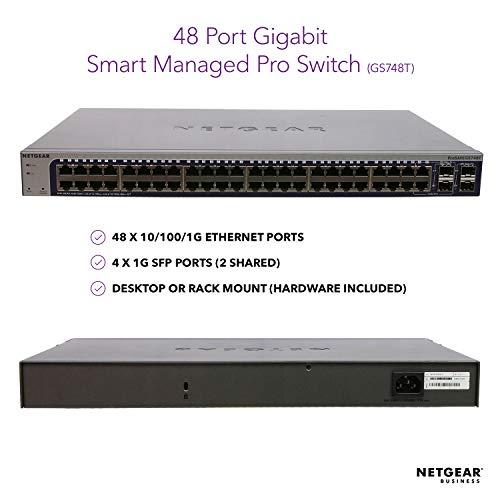 NETGEAR 48-Port Gigabit Ethernet Smart Managed Pro Switch (GS748T) - with 4 x 1G SFP, Desktop/Rackmount, and ProSAFE Lifetime Protection by NETGEAR (Image #1)