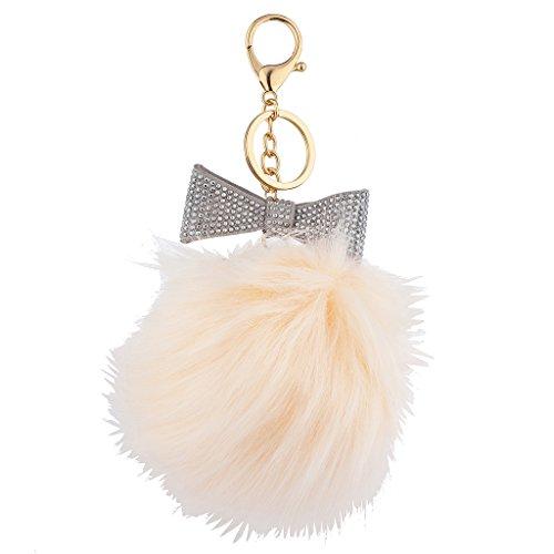 Lux Accessories Grey Sticker Stone Bow Pink Faux Fur Pom Pom Keychain Bag (Faux Fur Bow)