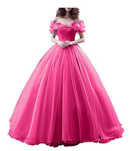 Chupeng Women's Princess Costume Off Shoulder Prom Gown Wedding Dresses Evening Gown Quinceanera Dress 2019 Peach]()