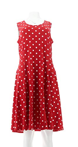 Susan Graver Printed Liquid Knit Slvless Dress Red XL New A274430