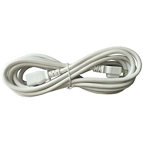 BYBON 25FT 18 AWG SJT Universal Power Cord NEMA 5-15P to C13,Computer//Printer Cord,White,UL listed.