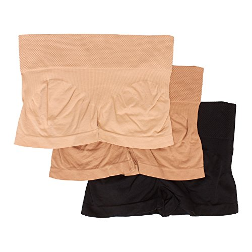 Kathy Ireland Womens 3 Pack Boyleg Underwear Body Shaper Elastic Waist Panties Skin/Beige/Black Medium