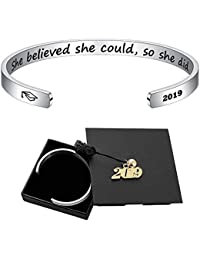 Inspirational Graduation Gifts Cuff Bracelet - Engraved Inspirational Bracelet Cuff Bangle with 2019 Graduation Grad Cap, Mantra Quote Keep Going Bracelet Graduation Friendship Gifts for Her