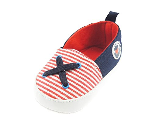 Bañador para bebé Boys Pre Walker rayas lienzo zapatillas Náuticos bordar Anchor Rosso
