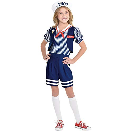 Child Robin Costume (Party City Stranger Things Robin Scoops Ahoy Costume for Children, Size Medium, Includes a Romper, a Hat, and Name)