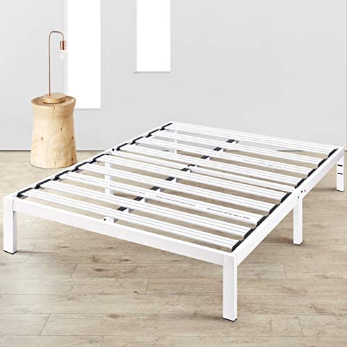 Mellow Rocky Base E 14 Platform Bed Heavy Duty Steel White, w Patented Wide Steel Slats No Box Spring Needed – Full