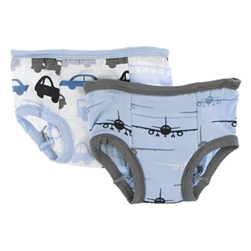 KicKee Pants Little Boys Training Pants Set (Set of 2)- Natural Cars and Trucks & Pond Airplanes, 3T/4T