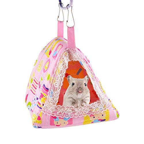Guardians Hamster Bed Small Animal Cage Supplies Hammock House Hideout Pet Tent (Pink, Triangle - Ferret Tent Hammock
