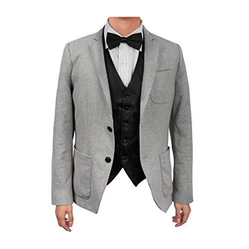 Designer Waistcoats - Dan Smith DGEE0001-2XL Black Solid Microfiber Designer Waistcoat Satin Birthday Presents Vest Matching Bow Tie