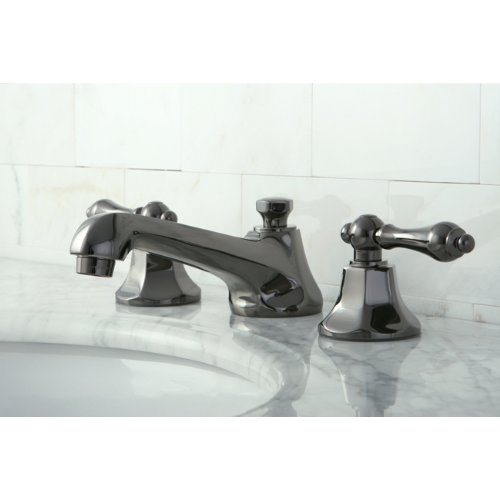 Kingston Brass NS4460AL Water Onyx Widespread Lavatory Faucet with Lever Handle and Brass Pop-up Drain, Black Stainless Steel