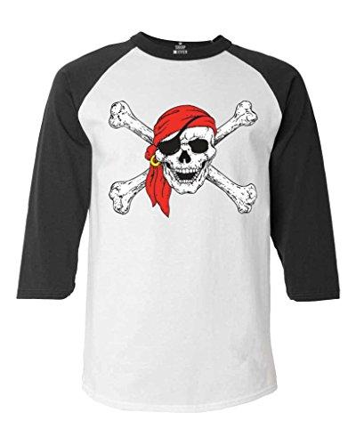 - Shop4Ever Pirate Skull and Crossbones Baseball Shirt Pirate Flag Raglan ShirtX-Large White/Black 11224