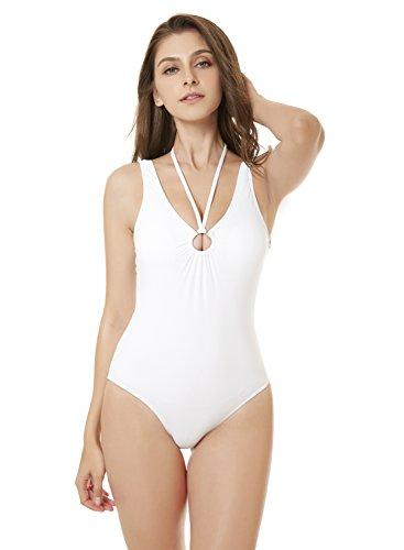 YICHUN Damen Badeanzug Weiß