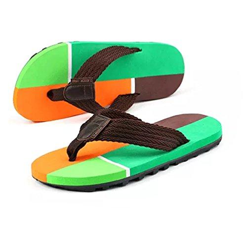 Baymate Herren Kontrast Farbe Zehentrenner Strand Flip Flops Komfort Sandalen Grün