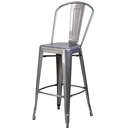 Rajtai Metal Kitchen/Bar / Cafe/Garden Chair in Silver Color