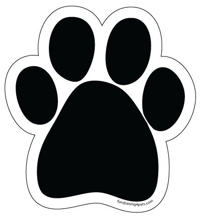 Plain Black Paw Print Magnet with white background