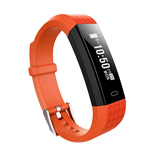 GIMTVTION ZY68 Fitness Tracker,Bluetooth Heart Rate Monitor Smartwatch Step Walking Sleep Counter Wireless Smart Wristband Pedometer Sweatproof Sports Bracelet for IOS Android System (Orange)
