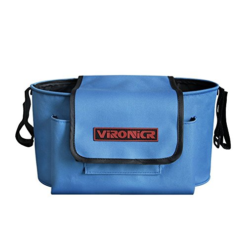 Stroller Organizer Large Capacity Stroller Bag Multiple Pockets with Strap (Blue) (Stroller Around Twin Wrap)