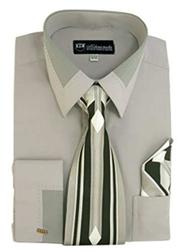 (Milano Moda High Fashion Dress Shirt with Contrast Design Tie, Hankie & Cuffs Gray-16-16 1/2-34-35)