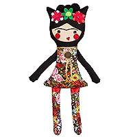 Frida Kahlo inspired doll / Rag doll Fridita / Mexican cloth doll / Flowers / Black / Nursery decor / For Girl