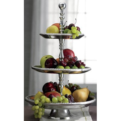 KINDWER 3-Tier Beaded Aluminum Stand, 22-Inch, - Stand Tier Aluminum