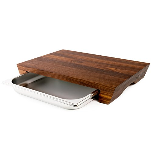 cleenbo Cutting Boards Style Walnut with Tray, Large Wood Oiled Walnut Chopping Board with Stainless Steel Drawer for Kitchen, Eco-Friendly and with compartments Dimensions: 16.9 x 11.4 x 2.7 in
