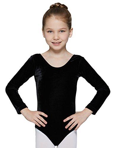 Leotard for Girls with Long Sleeve Velvet (Black, Age 6-8,Height 49-52