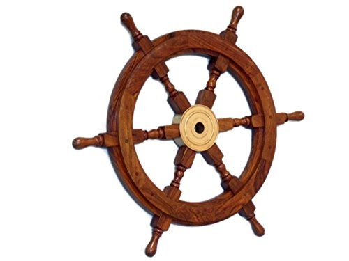(Hampton Nautical  Deluxe Class Wood and Brass Decorative Ship Wheel 18