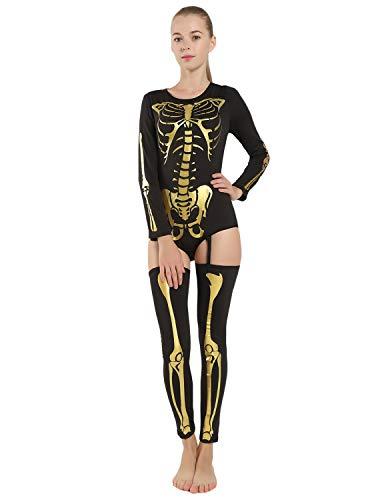 Quesera Women's Halloween Costume Stretch Skeleton Bodysuit Cosplay Jumpsuit ()