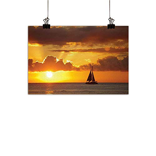 Gabriesl Sailboat Canvas Wall Art for Bedroom Home Decorations Last Lights of Sun Over Ocean Sail Boat Freedom Relaxing Mediterraneanhome Crossing paintingMarigold Dark Orange W28 x H20