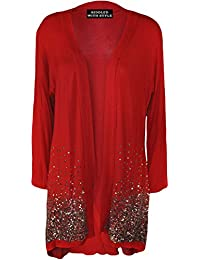 New Plus Size Ladies Sequin Open Cardigan Long Sleeve Womens Sparkle Top 14-28