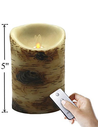 less Moving Wick Real Wax Candle with Timer/Remote Control – Bright Natural Swaying Flame, 3.5 x 5 Inch, Reusable, Candle Replacement (Jasmine 5 Light Chandelier)