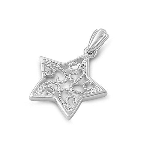 Glitzs Jewels Sterling Silver Star Pendant, 19mm