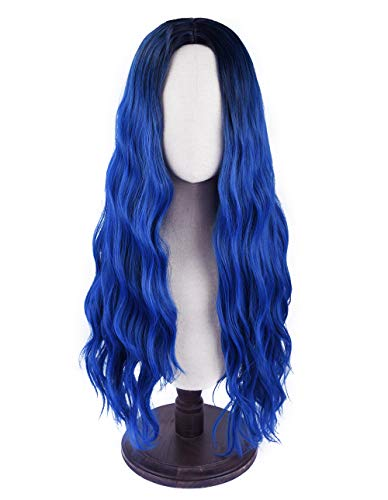 SEIKEA Women Color Wig Long Curly Hair Ombre with Root Girl Cosplay Costume Heat Resistant Synthetic Hairpiece - Dark Blue -