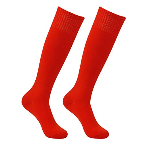 Soccer Socks Pack, Feelingway Unisex Cushion Arch Support High Solid Sweat Absorbing Athletic Soccer Football Knee High School Uniforms Socks Red 2 Pairs