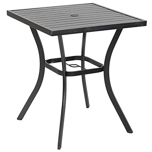 PHI VILLA MF Outdoor Patio 31″ Square Height Bar Table with Umbrella Hole – 36″ ...