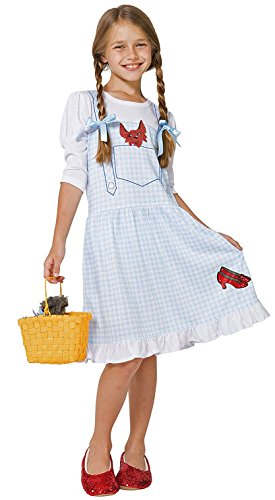 The Wizard of Oz Big Girls' Dorothy Costume Pajama Gown with Fleece Lined Ruby Slippers, Blue, -